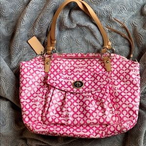 Coach Leah signature op art pink tote shoulder bag